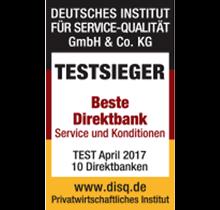 Beste Direktbank 2017 - 1822direkt