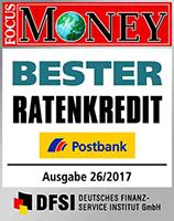 Postbank Bester Ratenkredit - Focus Money Auszeichnung 2017