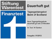 Bank of Scotland Tagesgeld Testsieger