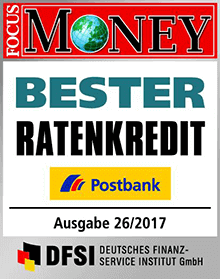 Postbank Bester Ratenkredit - Focus Money Auszeichnung 2017