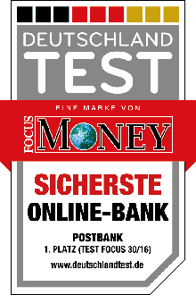 Postbank sicherste Online-Bank - Focus Money 2016