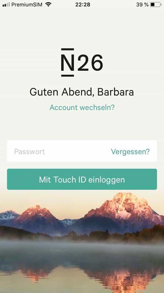 N26 Bildschirm