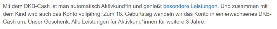 Auch Inhaber des DKB-Cash u18 Kontos sind DKB Aktivkunde – bis zum 21. Geburtstag.