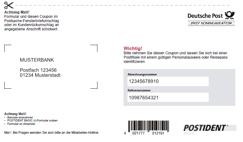 Kredit ohne Postident: Postident Coupon