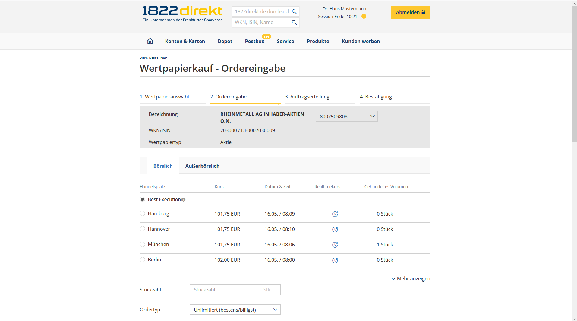 1822direkt Depot Screenshot