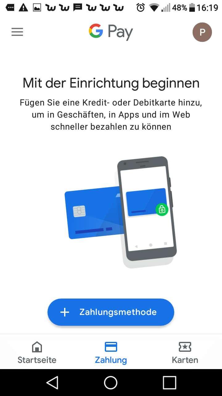 Apple Pay Android Google Pay Screenshot Karten