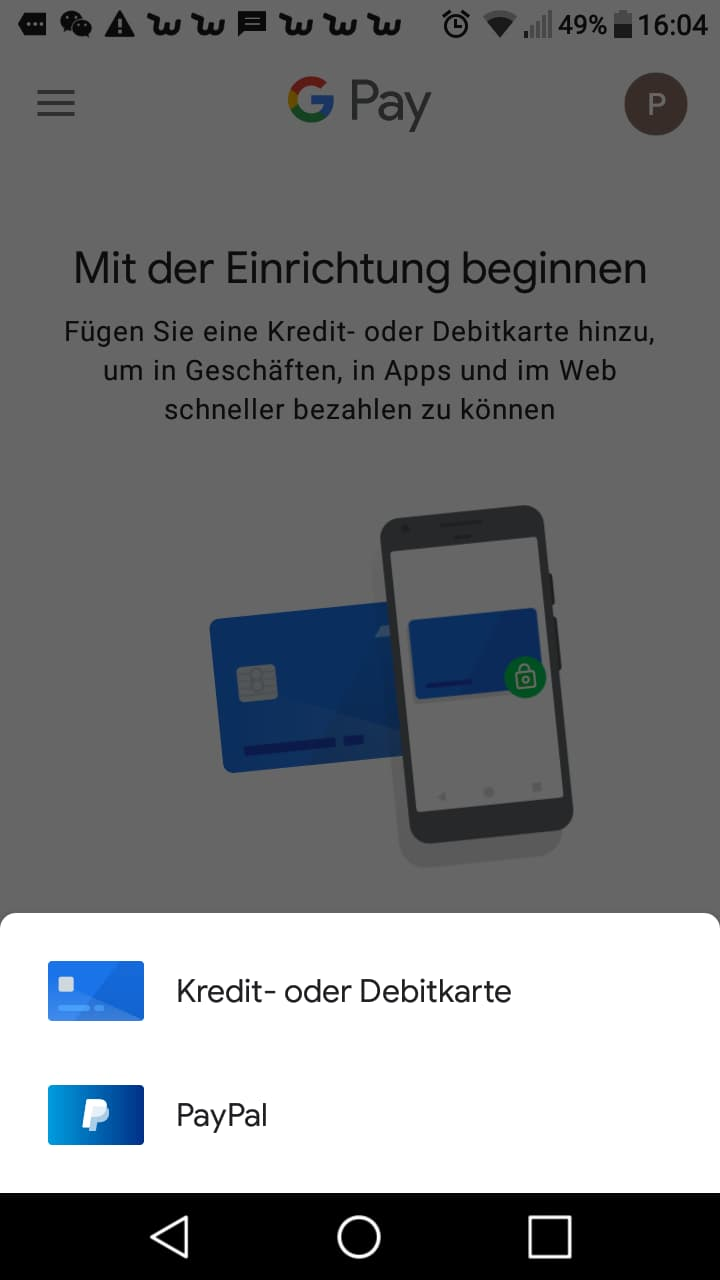 Apple Pay Android Google Pay Screenshot