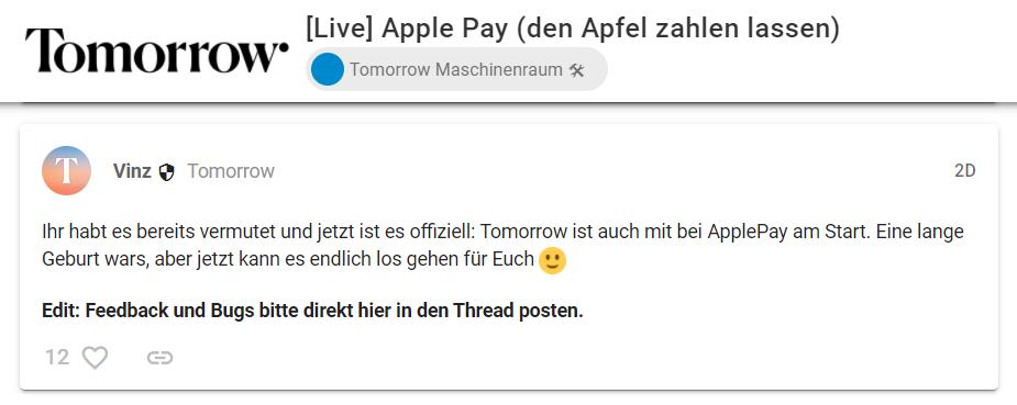 Tomorrow Bank Apple Pay jetzt verfügbar