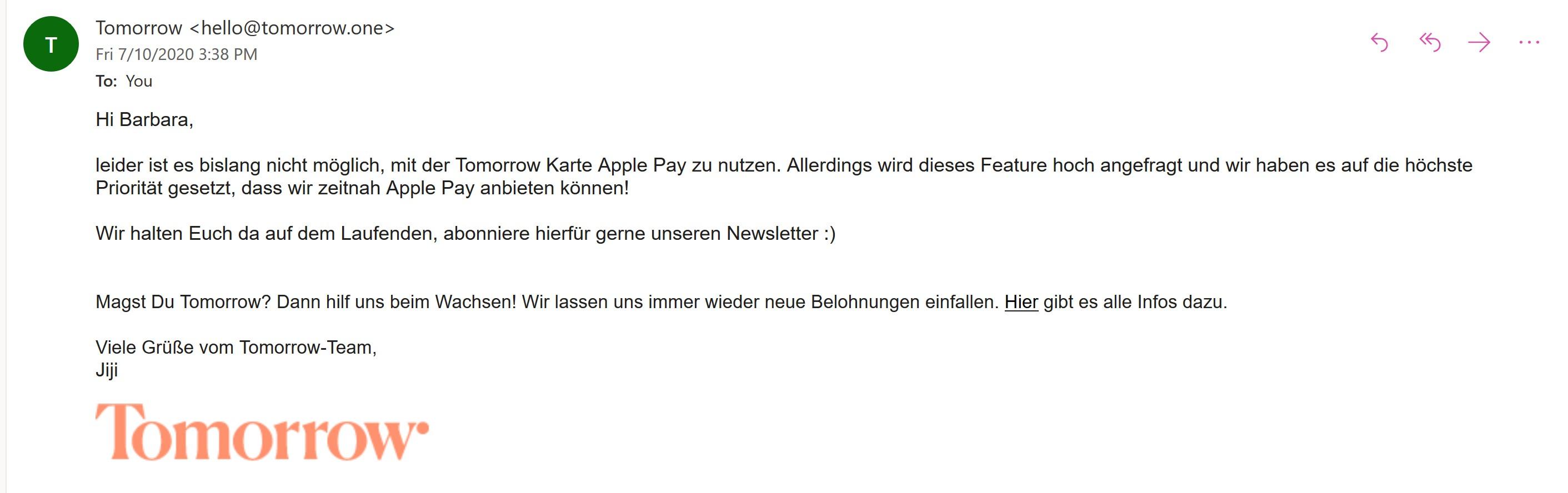 Tomorrow Apple Pay Kundenservice