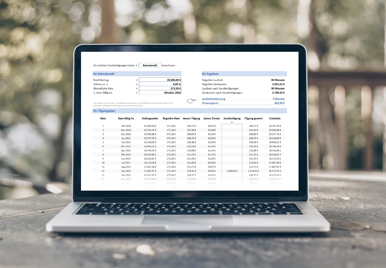 Kreditrechner mit Sondertilgung inklusive Tilgungsplan mit Sondertilgung für Excel