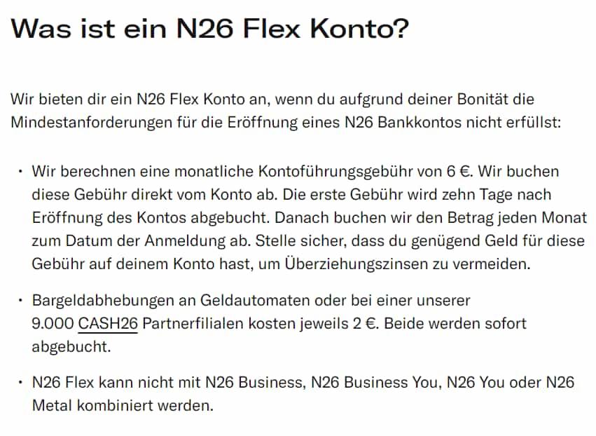 N26 Flex Konto